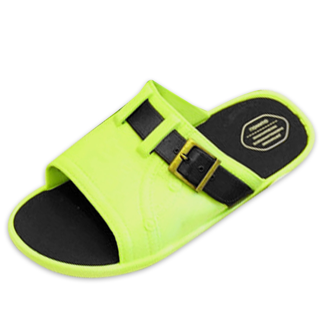Men Adjustable Buckle Letters Detail Slide Sandals Lime Green US Size 11