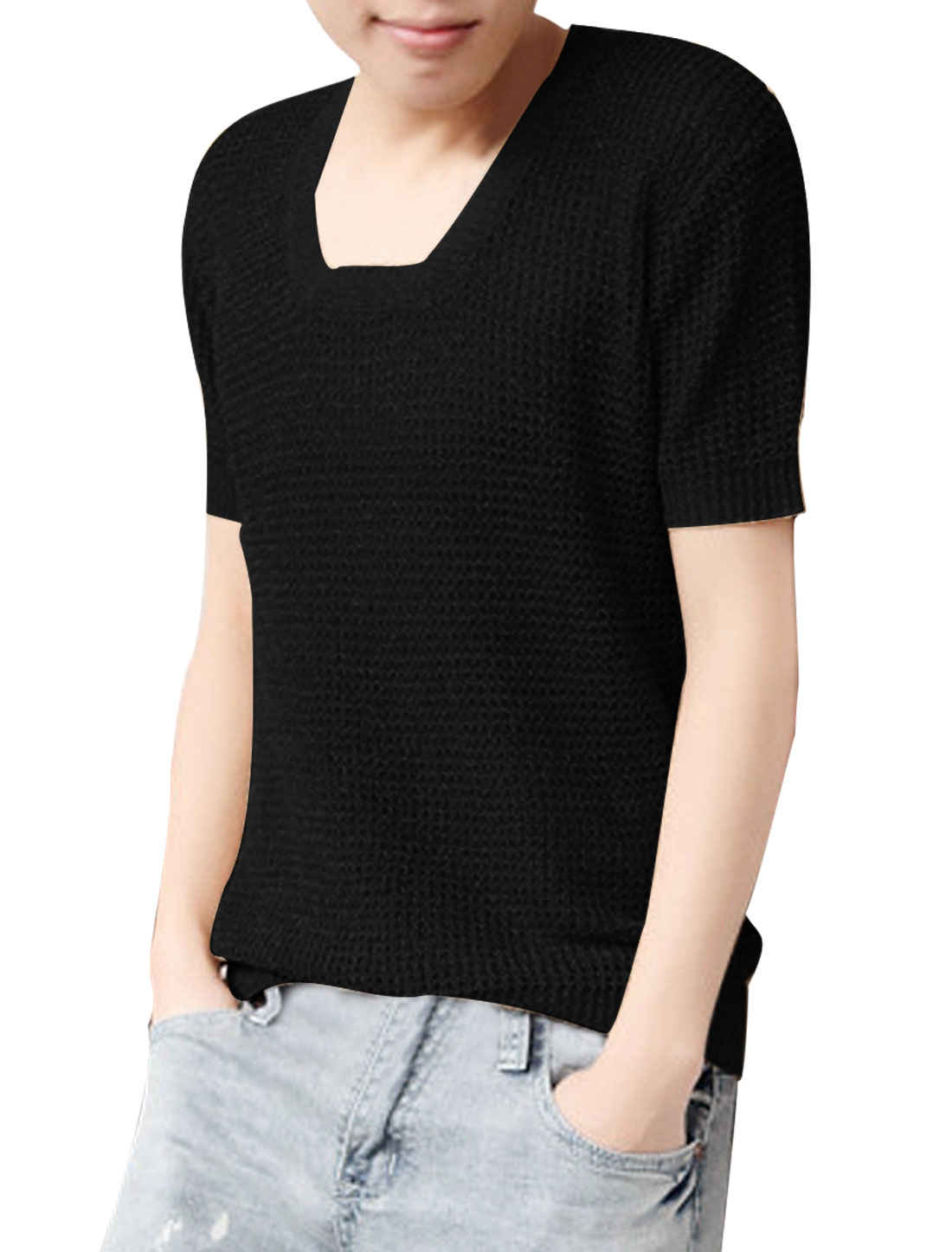 Man New Fashion Square Neck Short Sleeved Pure Black Knitted Tops M