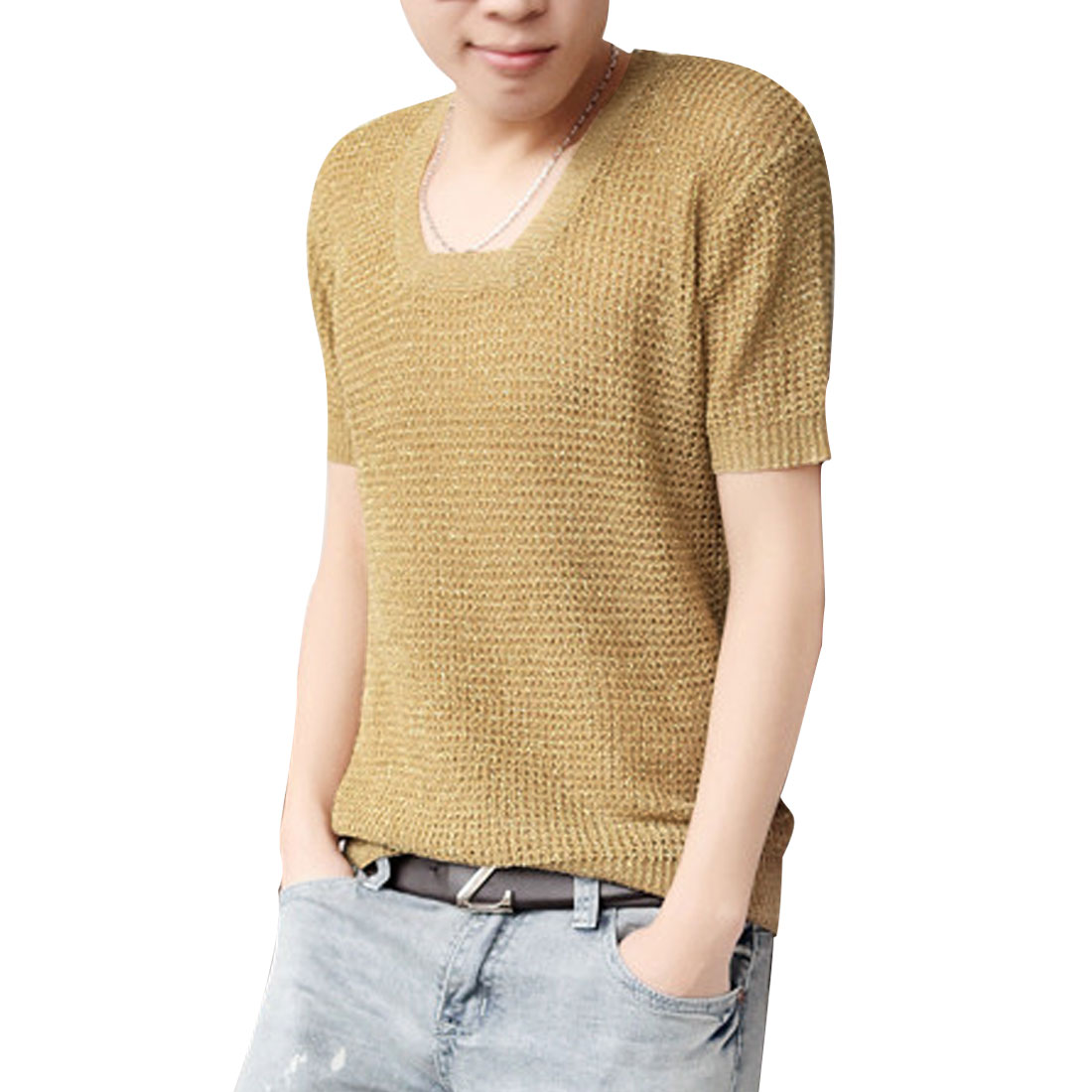 Stylish Khaki Color Square Neck Short Sleeve Summer Knitted Top for Man M