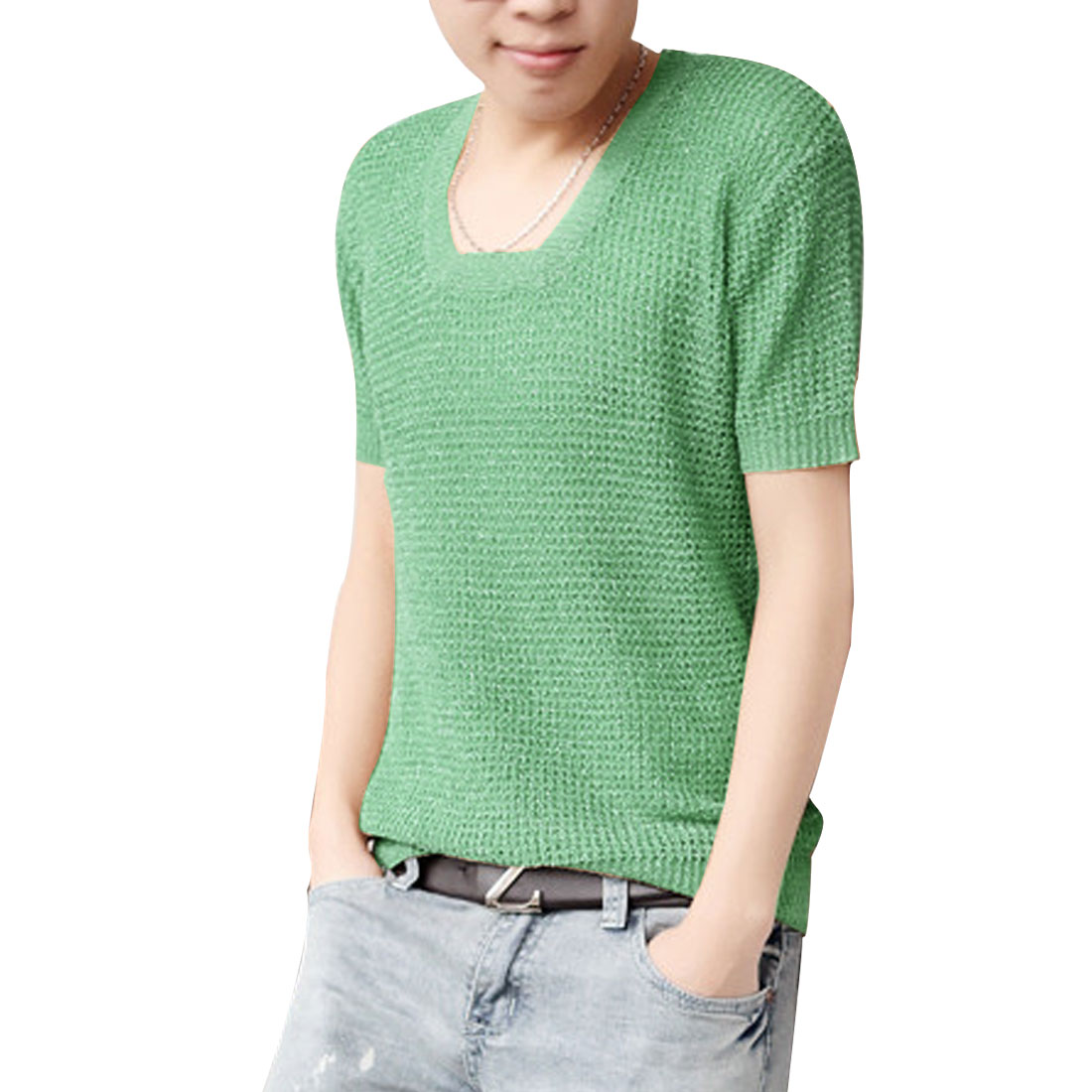Mens Chic Square Neck Short Sleeve Pale Green Hollow Knitted Shirt M