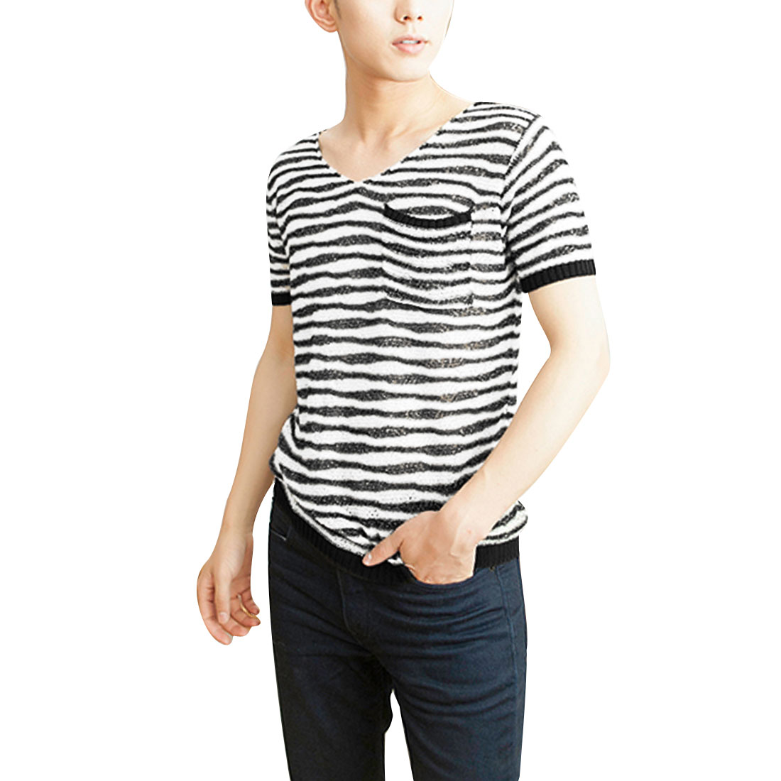 Mens Chic V Neck Short Sleeve Stripes Design Black Beige Knitted Top Shirt S