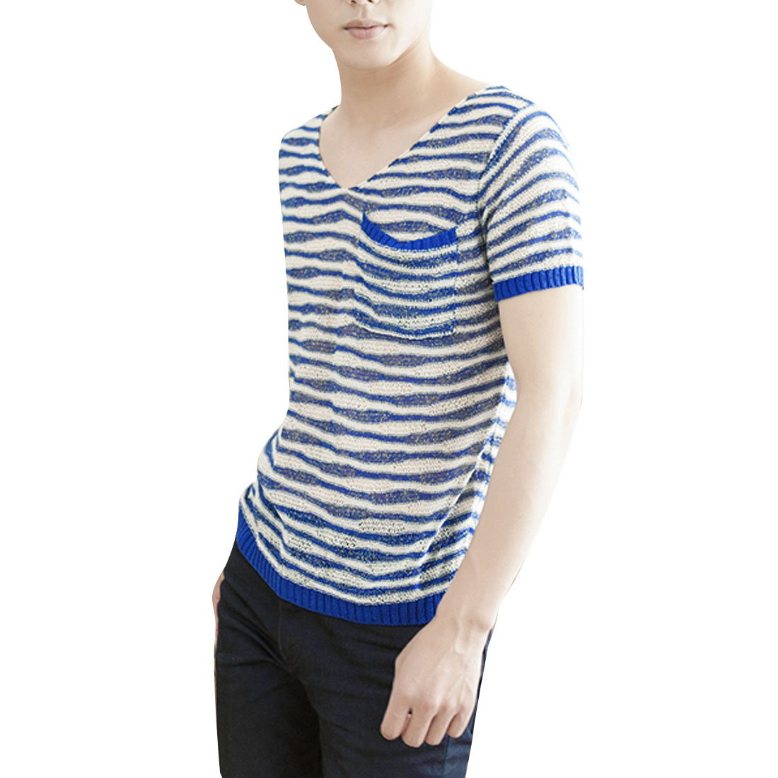 Man Fashion Round Neck Short Sleeve Hollow Design Blue Beige Knitted Top S