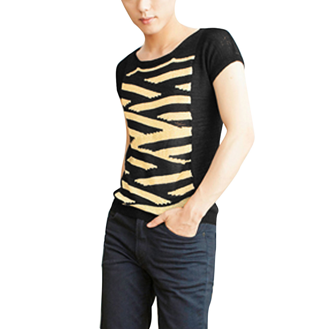 Man New Fashion Gold Tone Black Stripes Design Summer Knitted Shirt M