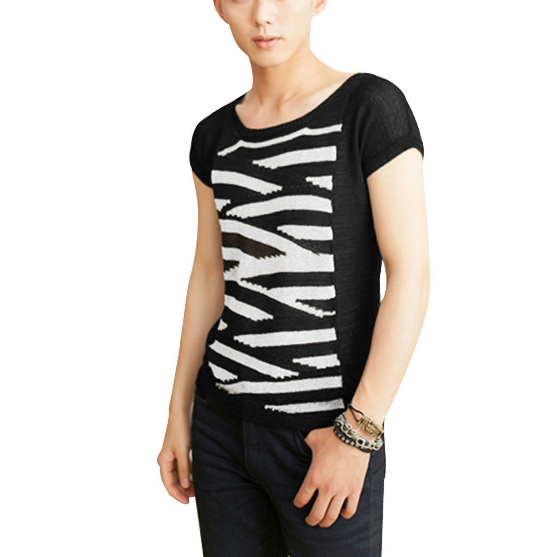 Mens Round Neck Short Sleeve Stripes Design Silver Tone Black Knitted Top M