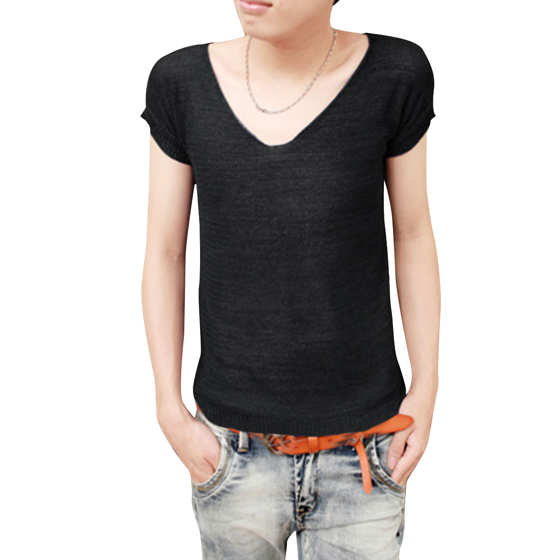 Men Hollow Out Design Short Sleeve Black Knit Shirt S
