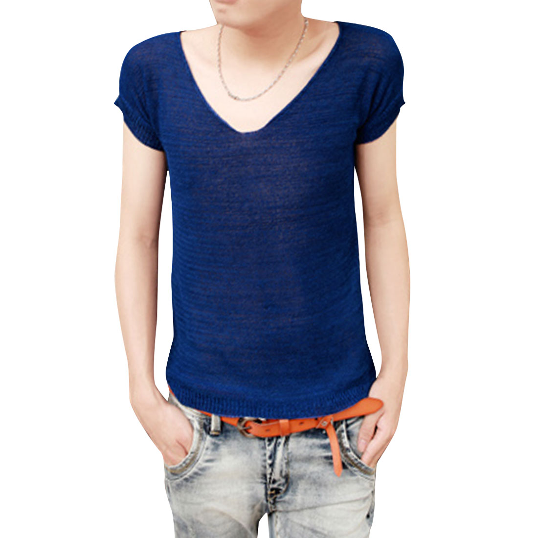 Men V Neck Semi-sheer Elastic Dark Blue Leisure Knit Top S