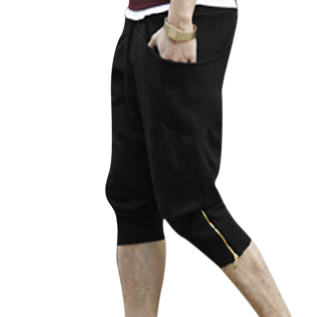 Men Casual Drawstring Waist Pockets Ribing Detail Capris Black W32