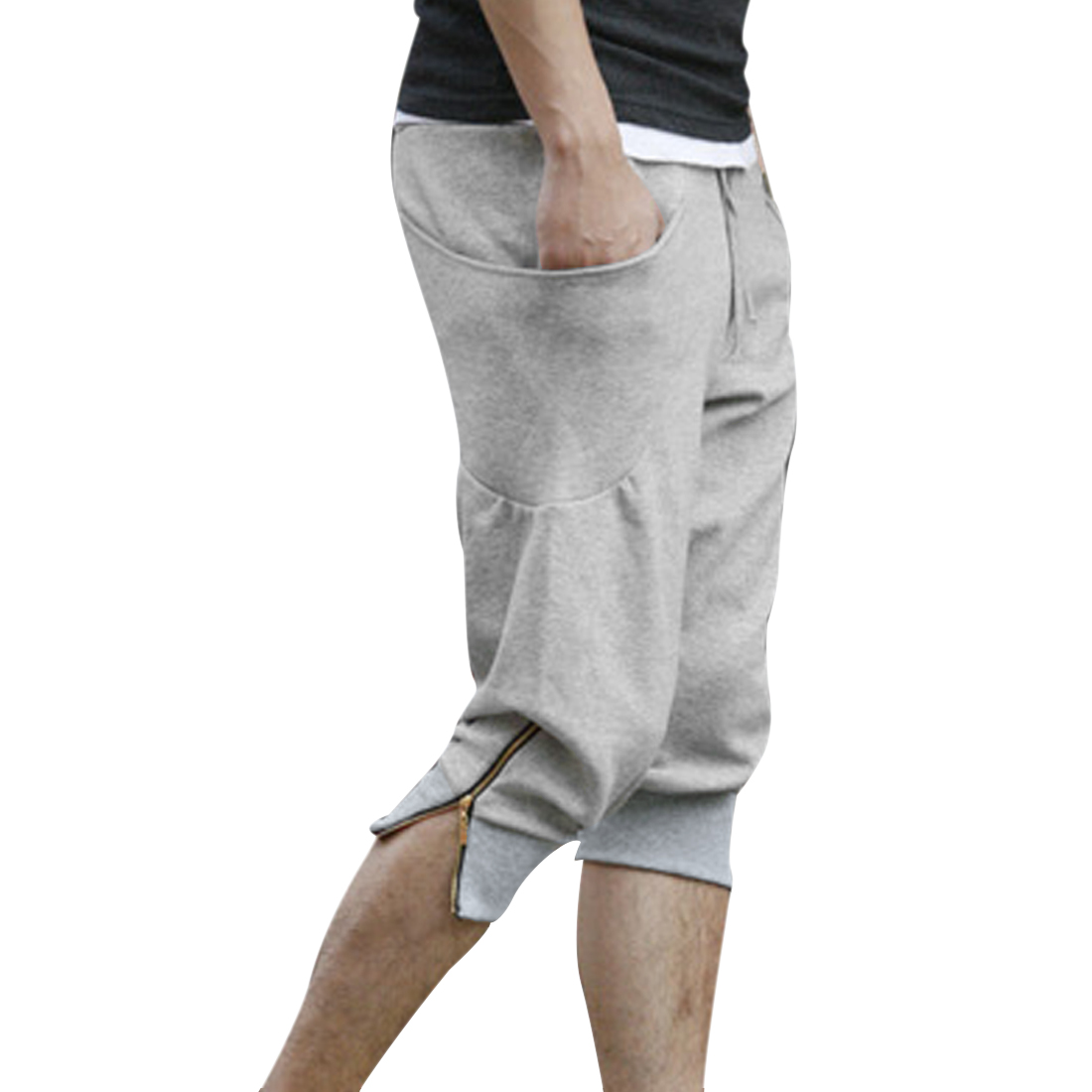Men Adjustable Strap Waist Stretchy Zipped Harem Pants Heather Gray W32