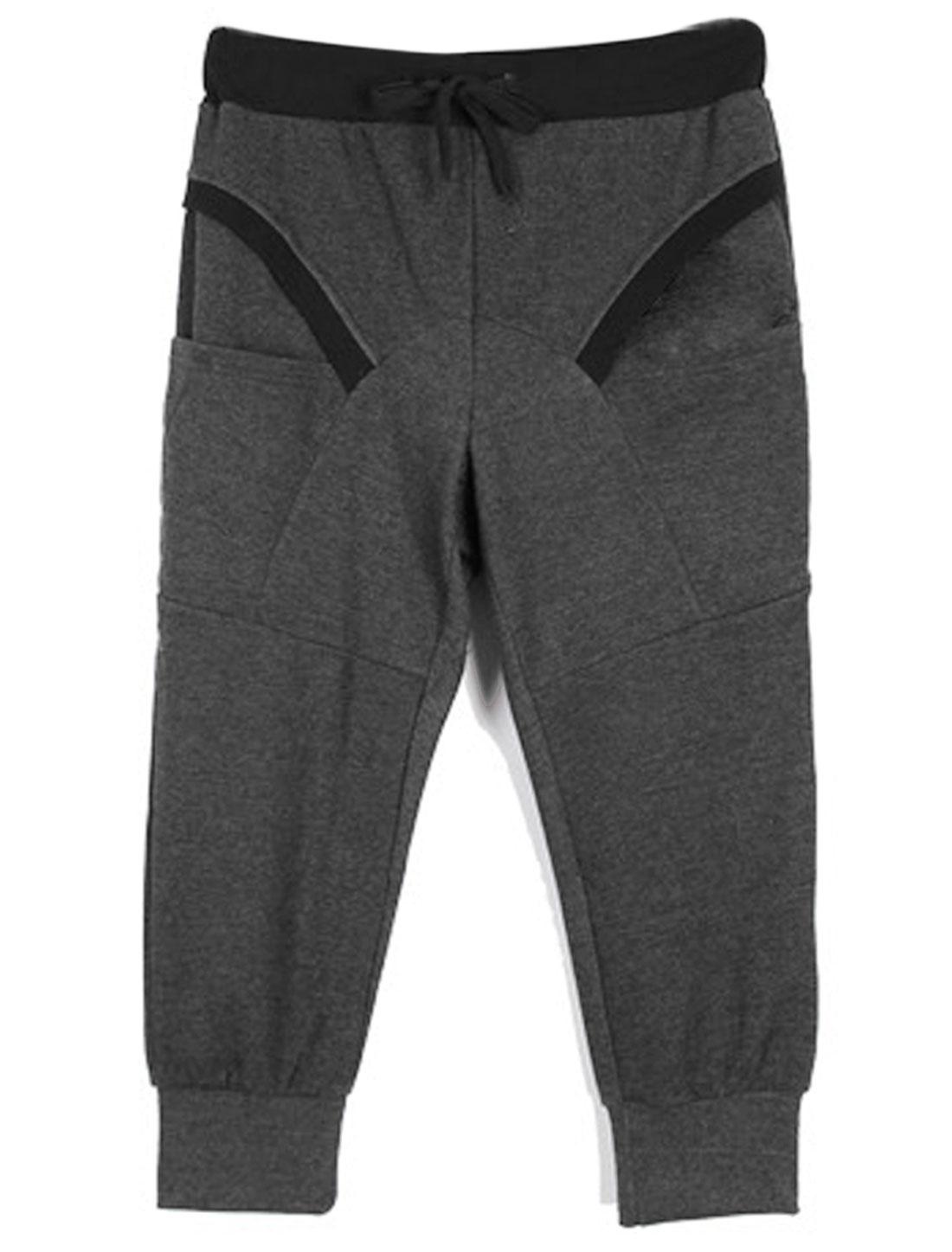 Mens Dark Gray Drawstring Elastic Waist Short Trousers W36