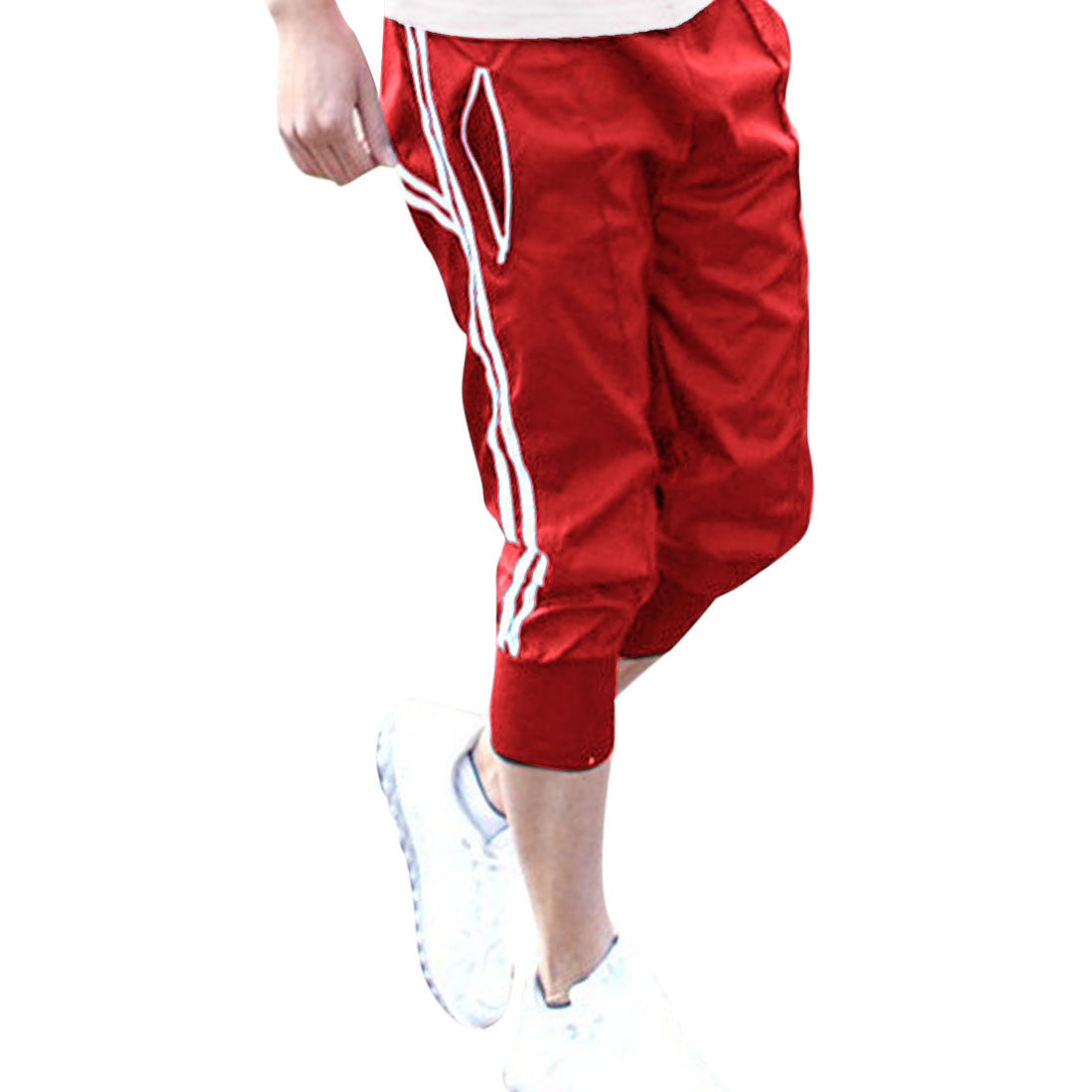 Men Red Stretchy Trousers Legs New Style Trousers Shorts W29