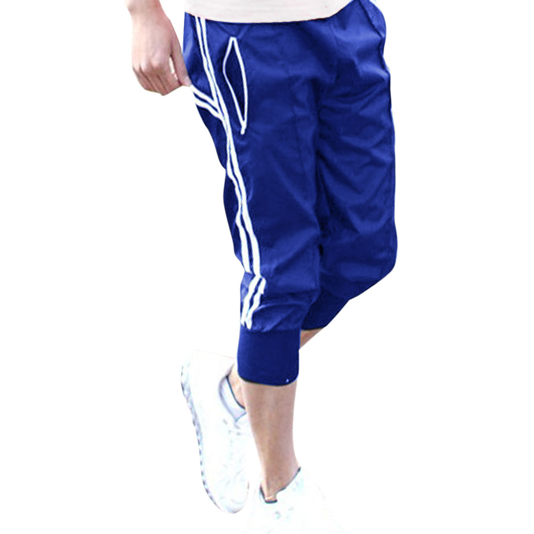Men Blue Self Tie Drawstring Waist Slant Pocket Shorts W29