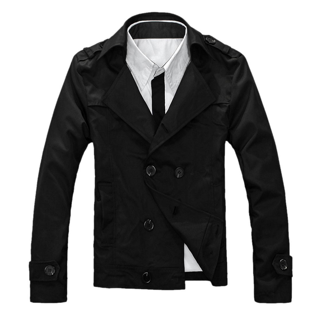 Men Convertible Collar Long Sleeve Autumn Blazer Black M