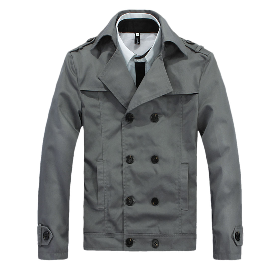 Men Convertible Collar Double Breasted Casual Blazer Gray M