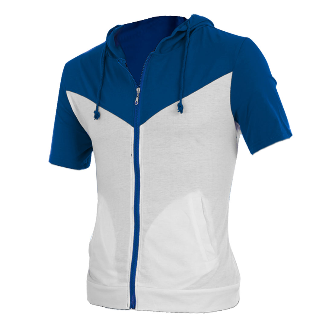 Men Blue White Panel Round Neck Hooded Summer Sweatshirt M