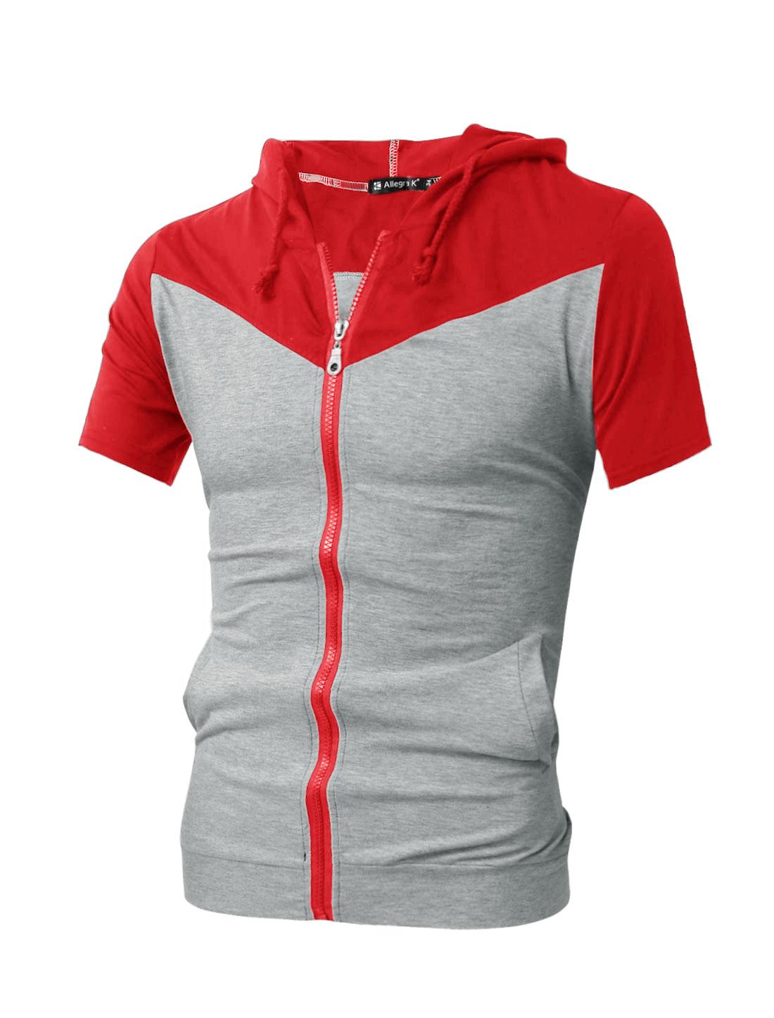 Men Red Gray Hooded Color Block Slant Pocket Sweatshirt M