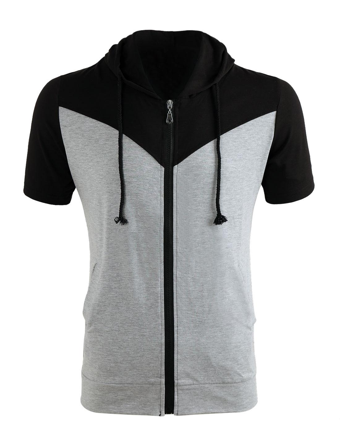 Men Black Gray Zipper Short Sleeve Color Block Sweatshirt M