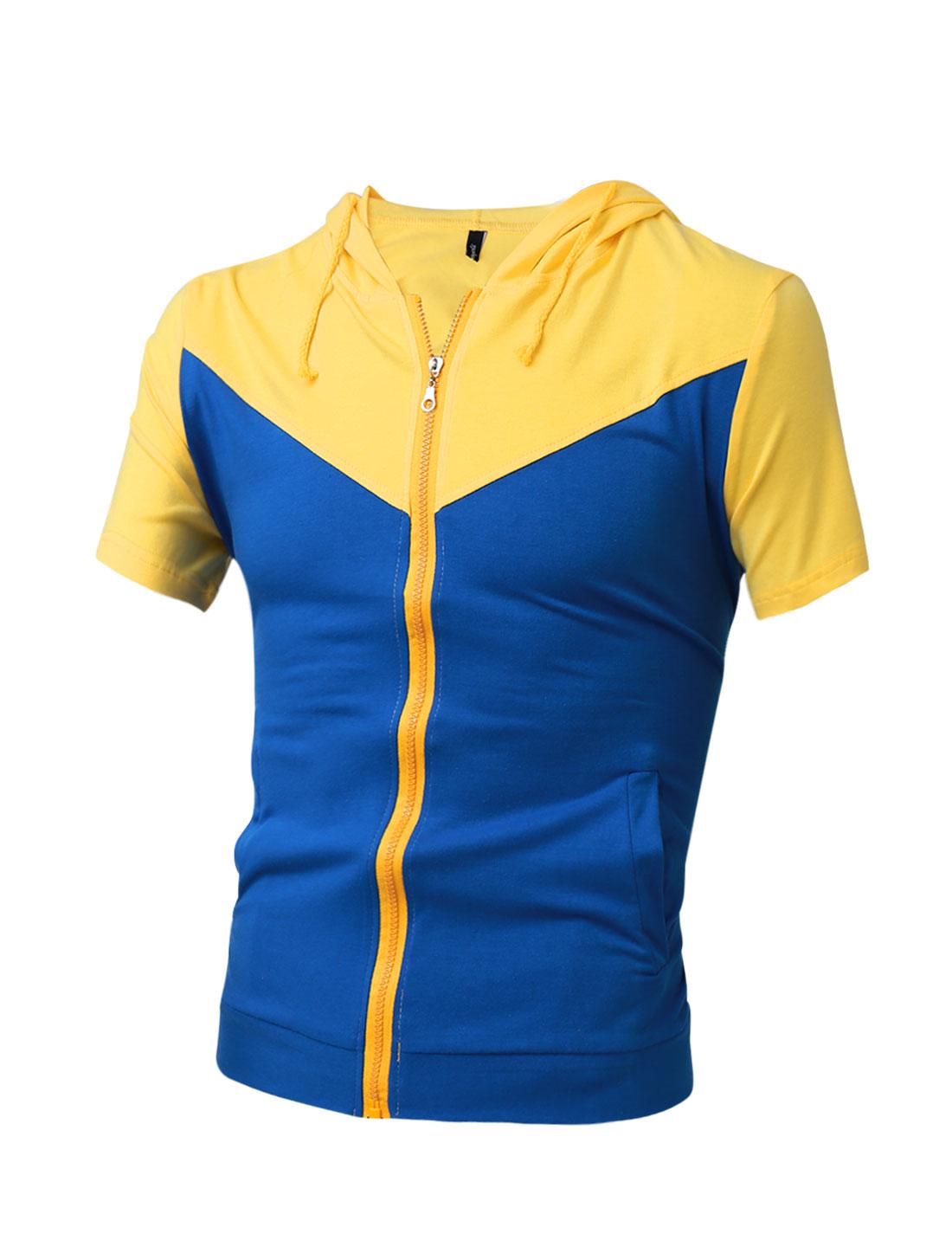Men Yellow Blue Zipper Short Sleeve Slant Pocket Sweatshirt M
