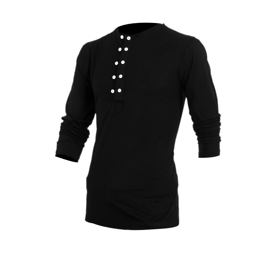 Man Newly Round Neck Long Sleeve Solid Black Spring Top Shirt M