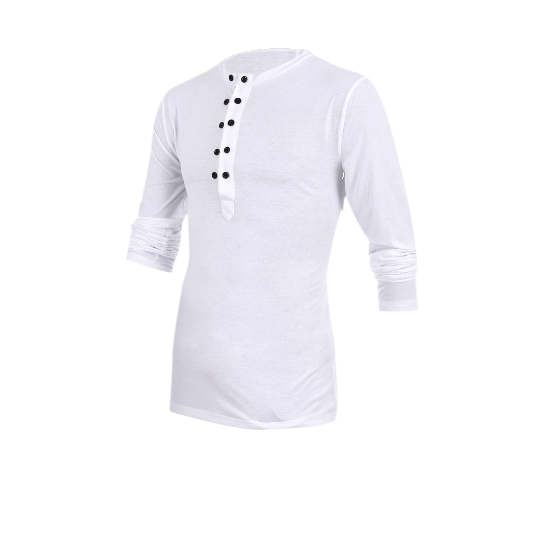 Mans Chic Double-Breasted Front Design Pure Color White Top Shirt M