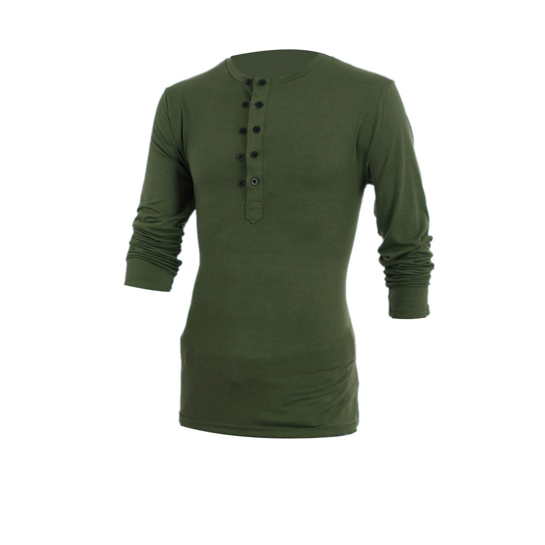 Mens Chic Round Neck Long Sleeve Double-Breasted Front Army Green Top Shirt M