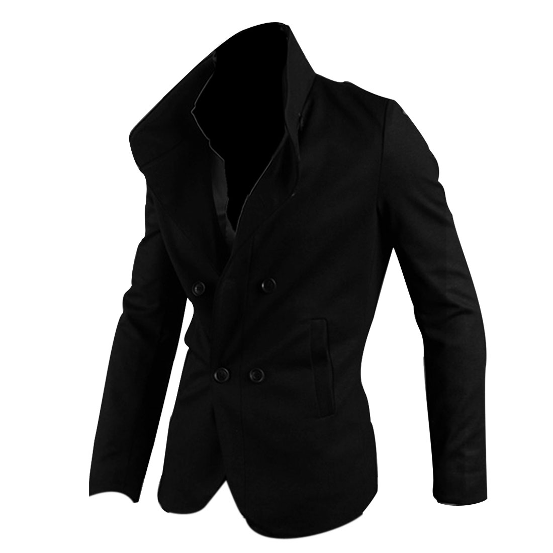 S Men Front Button Closure Long Sleeve Slim Fit Slant Pocket Blazer Black