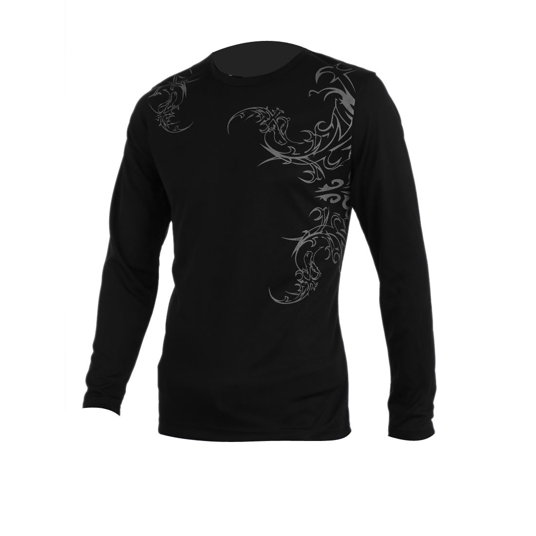 Men Close-fitting Novetly Prints Long Sleeve Black T-Shirt M