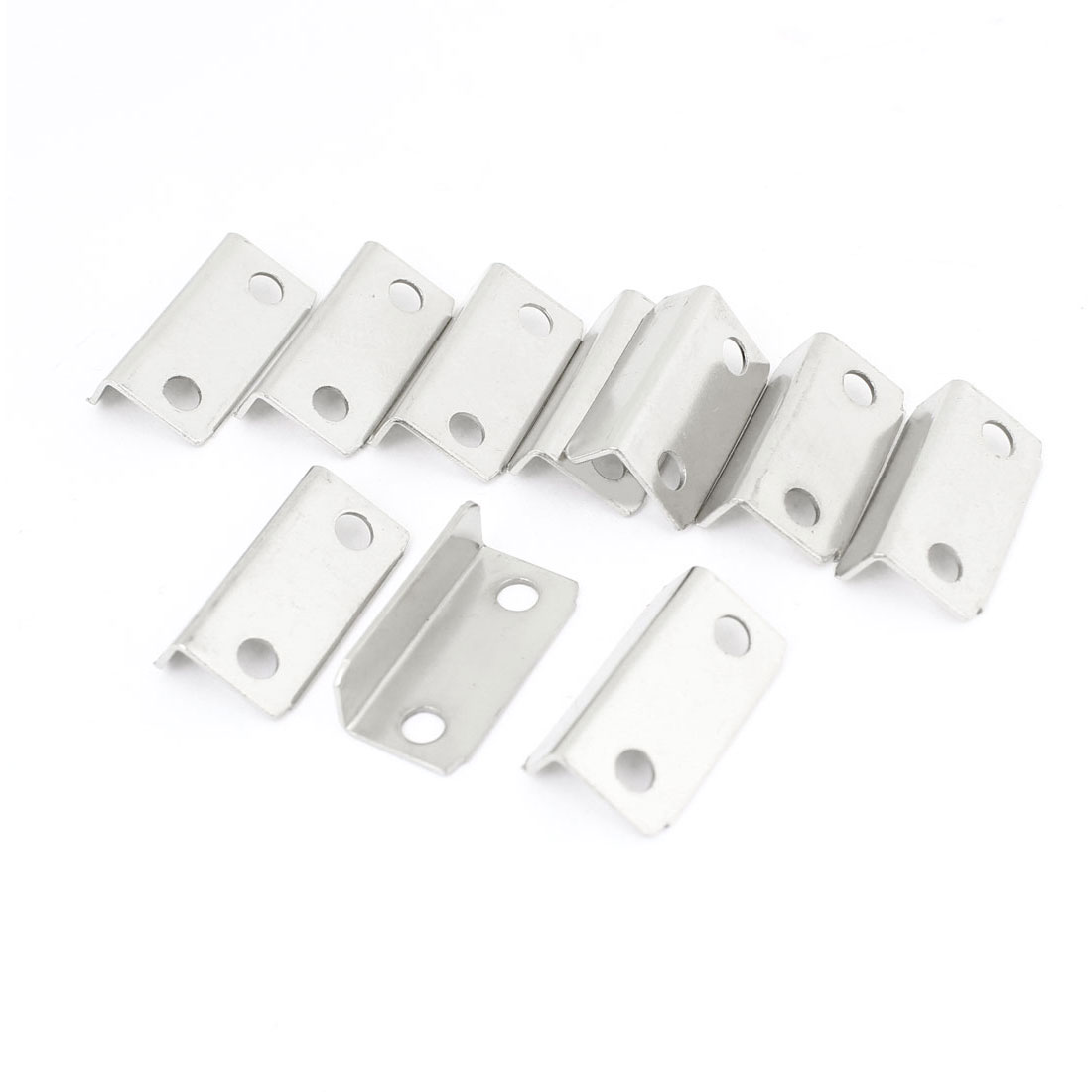10 Pcs Furniture Fittings Metallic Strengthen Corner Brace Silver Tone
