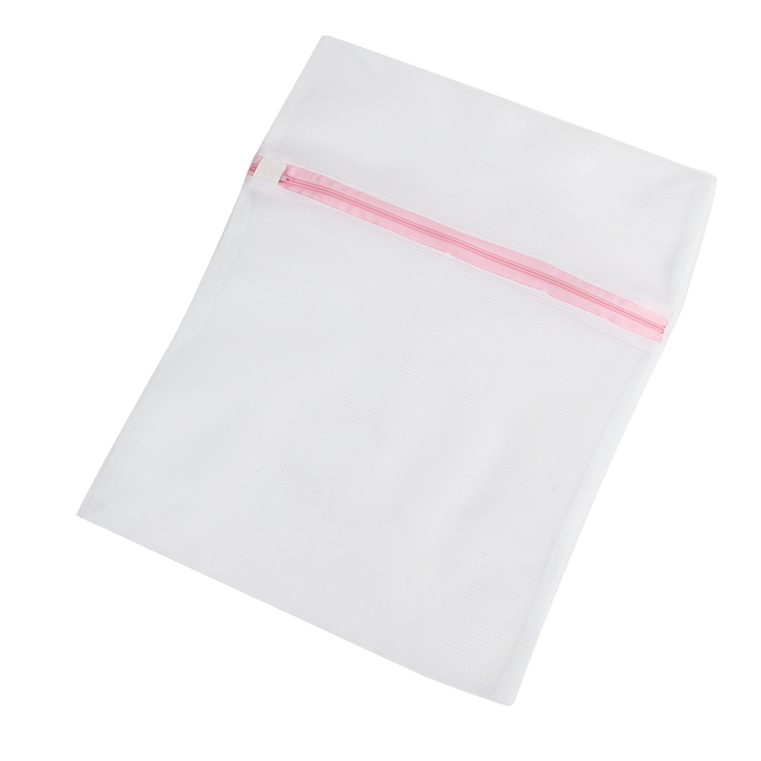 Family Zippered White Pink Dirty Clothes Laundry Holder Storage Bag