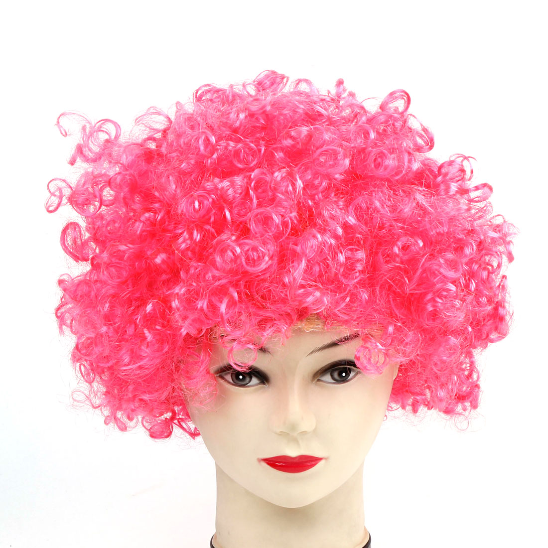 Halloween Plaits Curly Circus Party Wig Wild Fuchsia Hairpiece for Lady