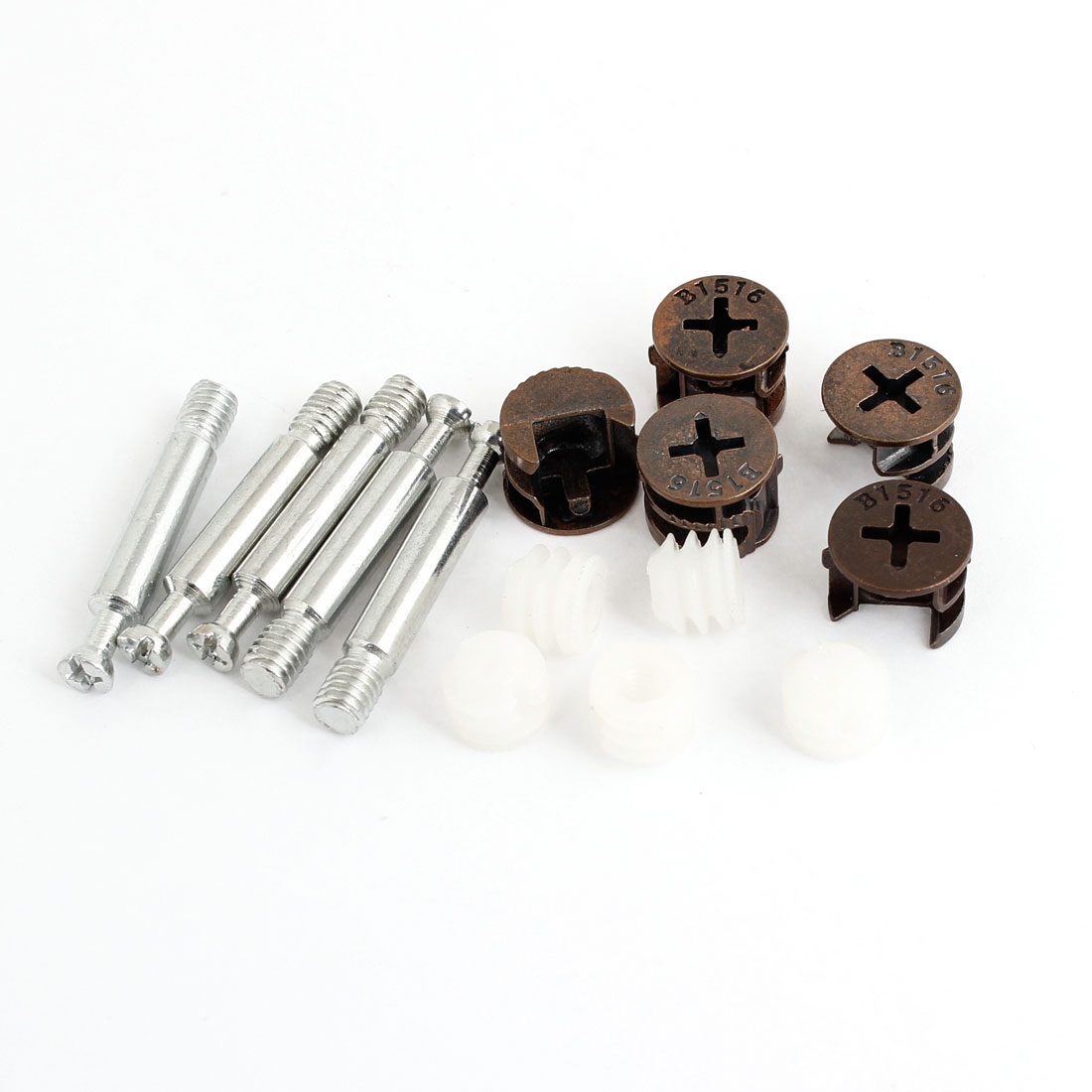 "5Pcs Furniture Side Connecting 0.55"" Dia Cam Fitting + Dowel + Pre-inserted Nut"
