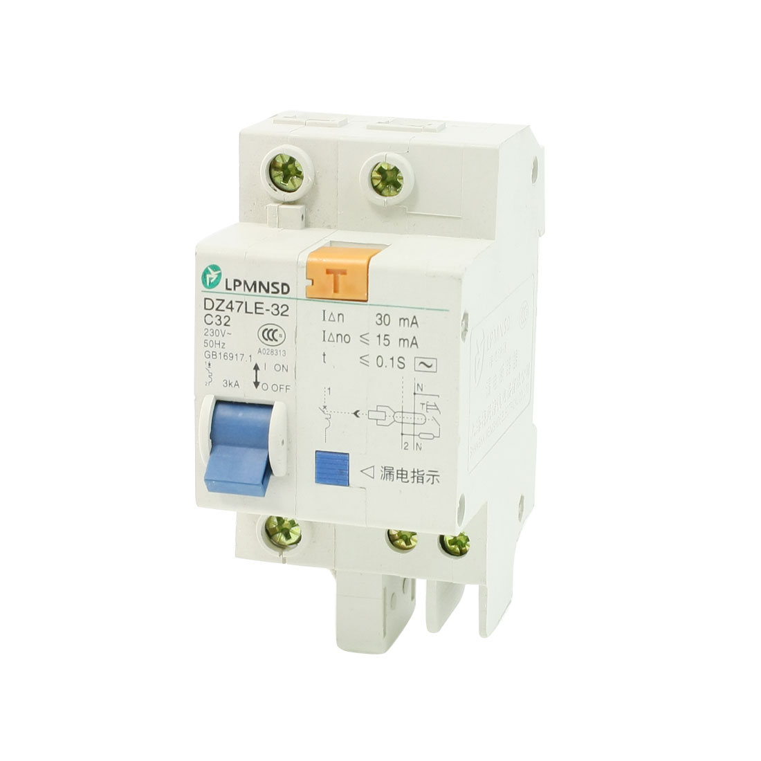 AC 230V 32A 3KA 1P 1P+N Miniature Circuit Breaker DIN Rail DZ47LE-32