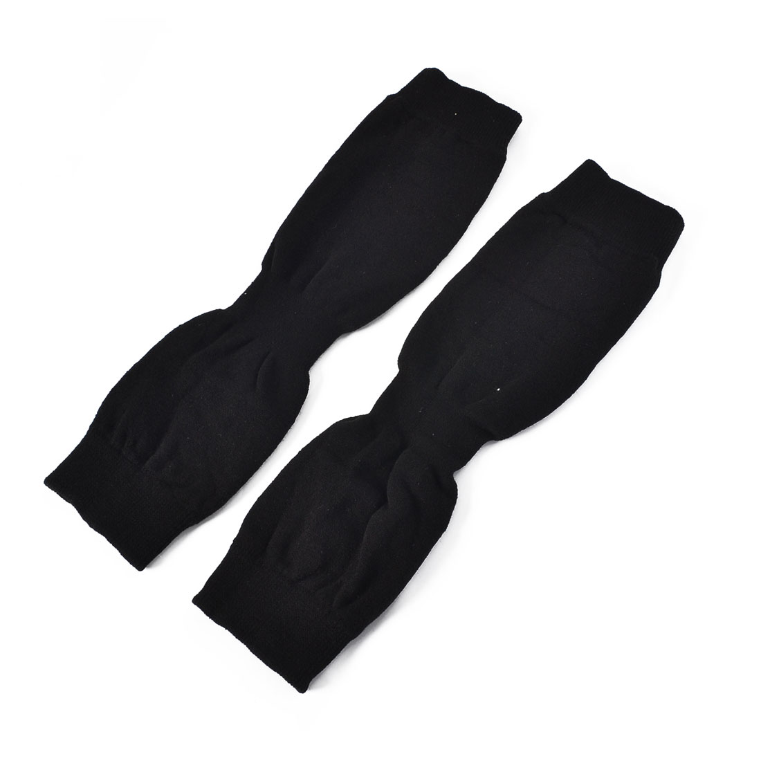 Pair Winter Black Knitting Wrinkled Elastic Leg Warmer Protector for Lady Woman