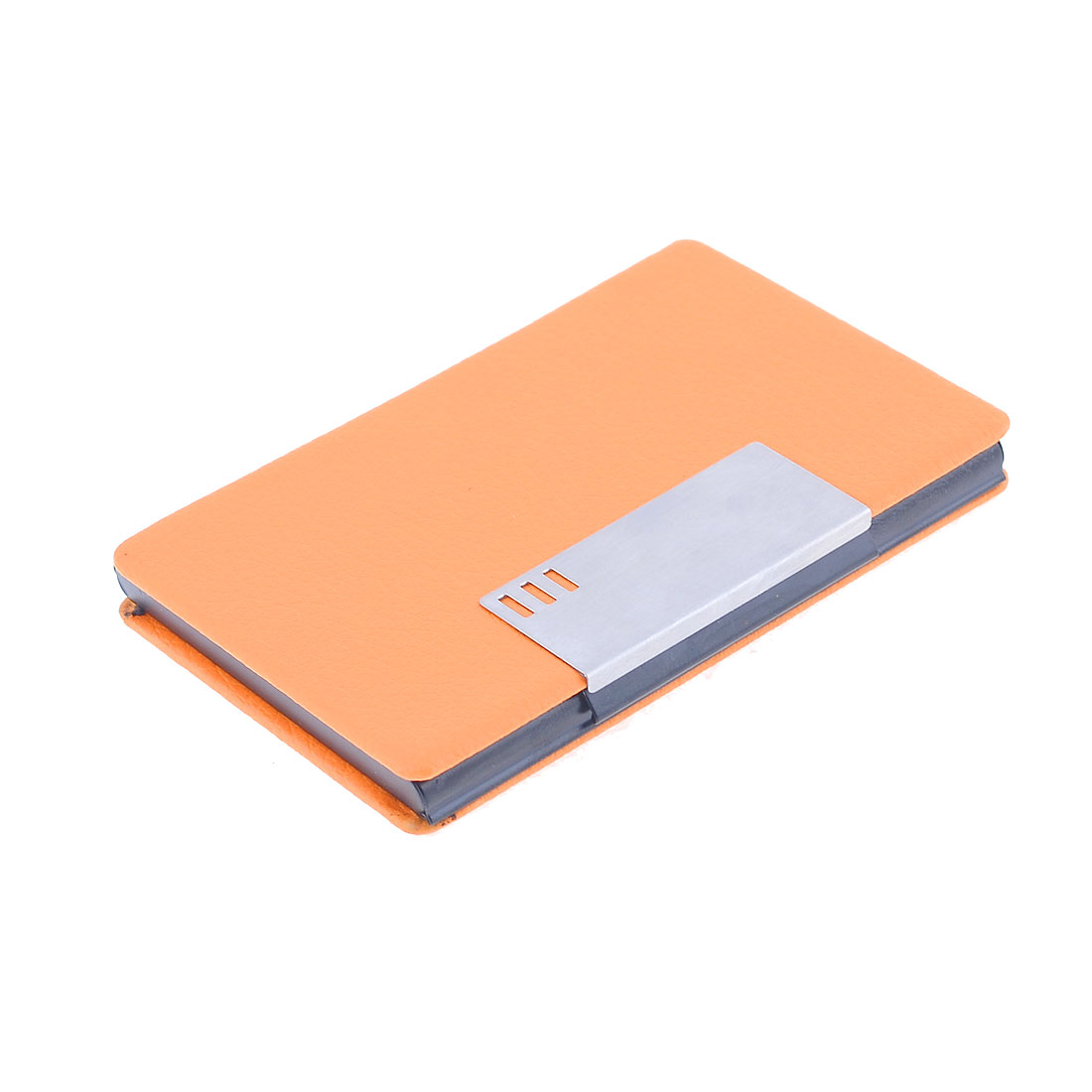 Orange Faux Leather Coated Black Aluminum Alloy Lining Business Name Card Case Holder