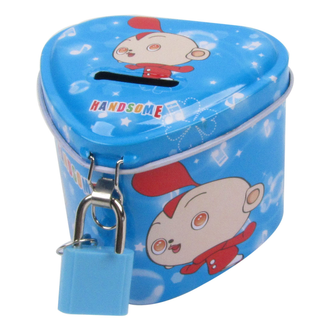 Heart Shaped Kid Pattern Metal Lockable Piggy Bank Coin Money Saving Box Blue