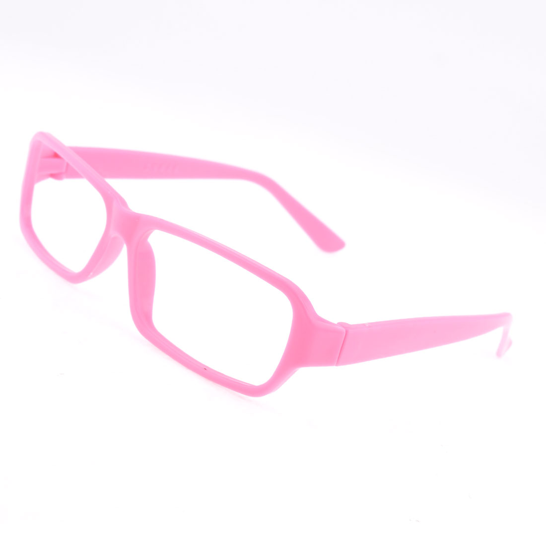Ladies Pink Plastic Full Rimmed Eyeglasses Rectangle Frame