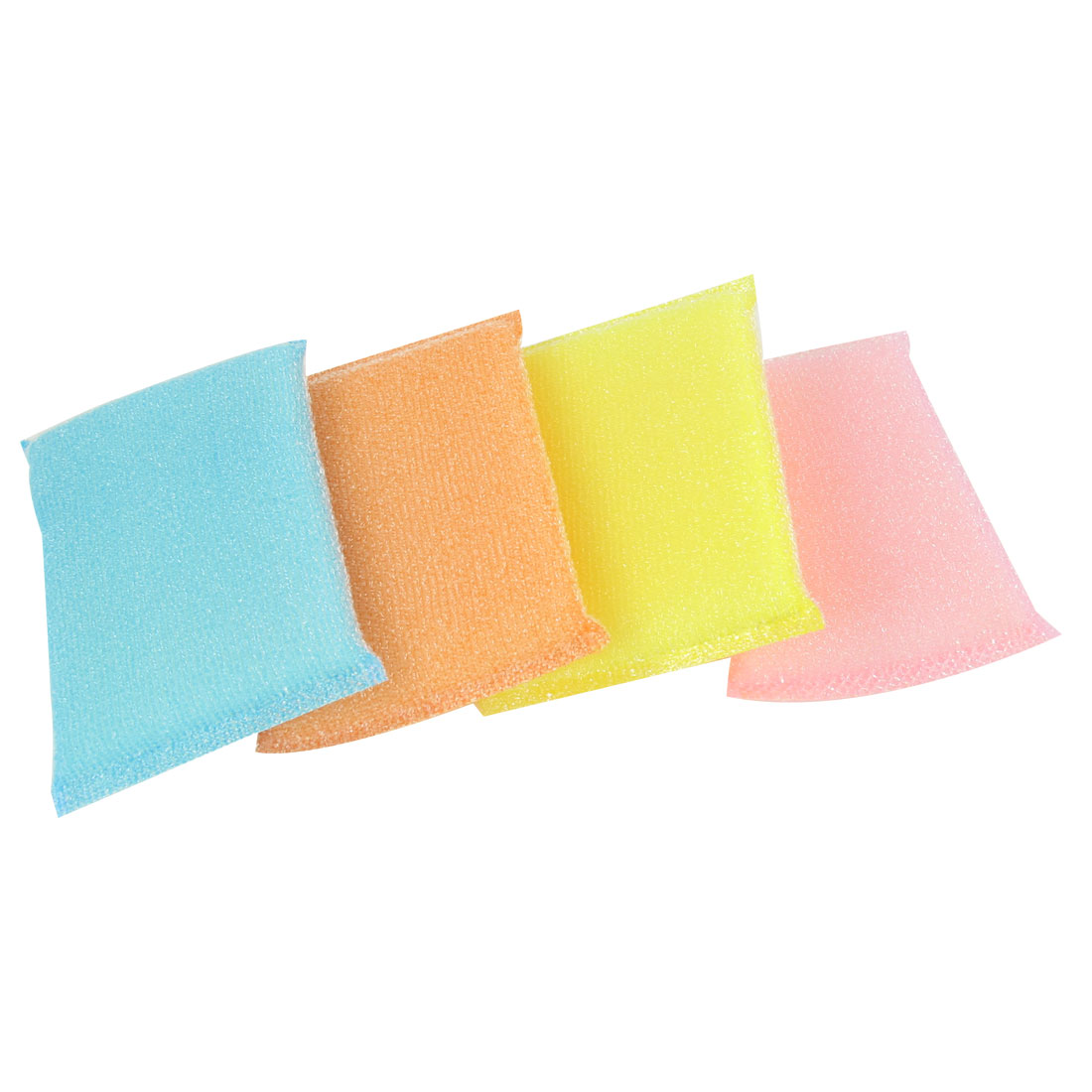 4 Pcs Home Kitchen Assorted Color Scrub Sponge Dish Pad Bowl Cup Cleaner