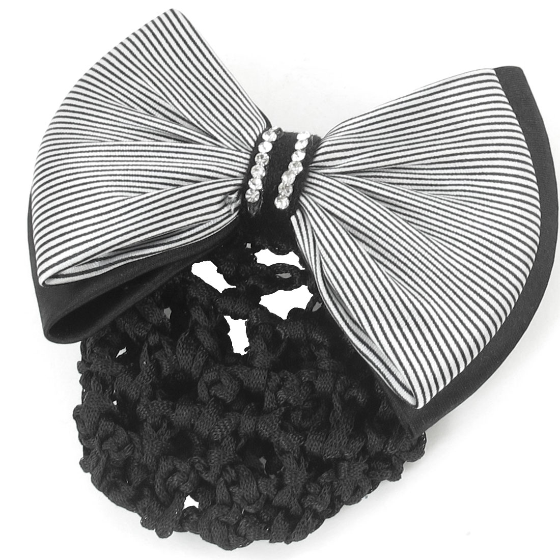 Lady Rhinestone Decor Black White Stripe Print Bowknot Snood Net Barrette French Hair Clip
