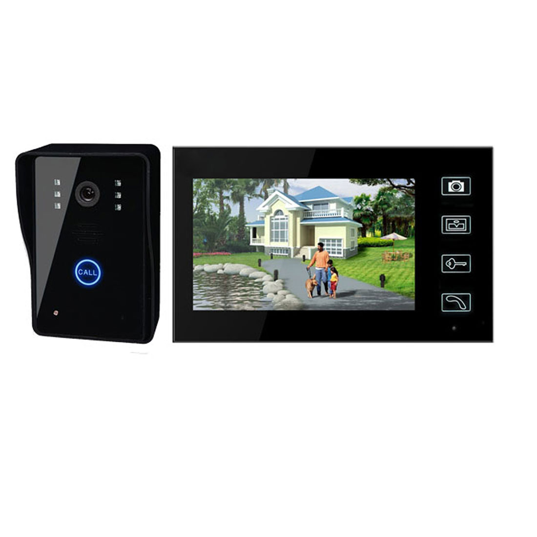 "AC 100V-240V US Plug Waterproof 7"" LCD Wireless Video Door Phone Doorbell Intercom Night Vision"