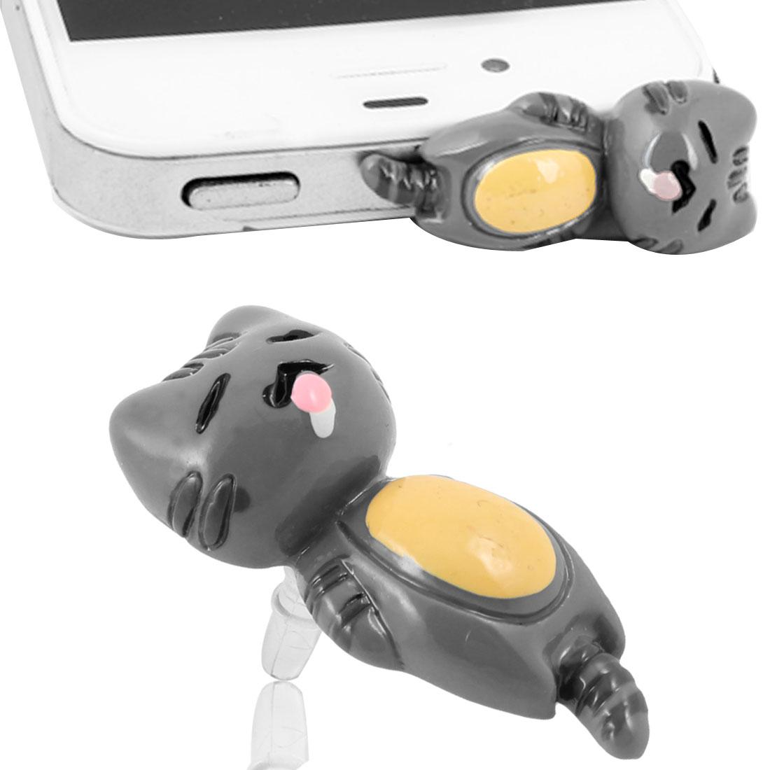 Gray Black Plastic Cat Design 3.5mm Ear Cap Dust Stopper