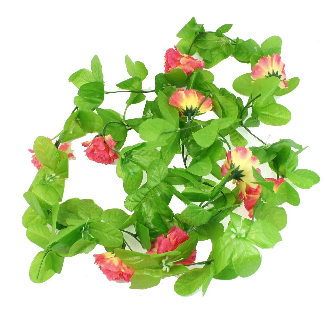 Home Wall Ornament Red Flower Decor Green Leaf Hanging Vine