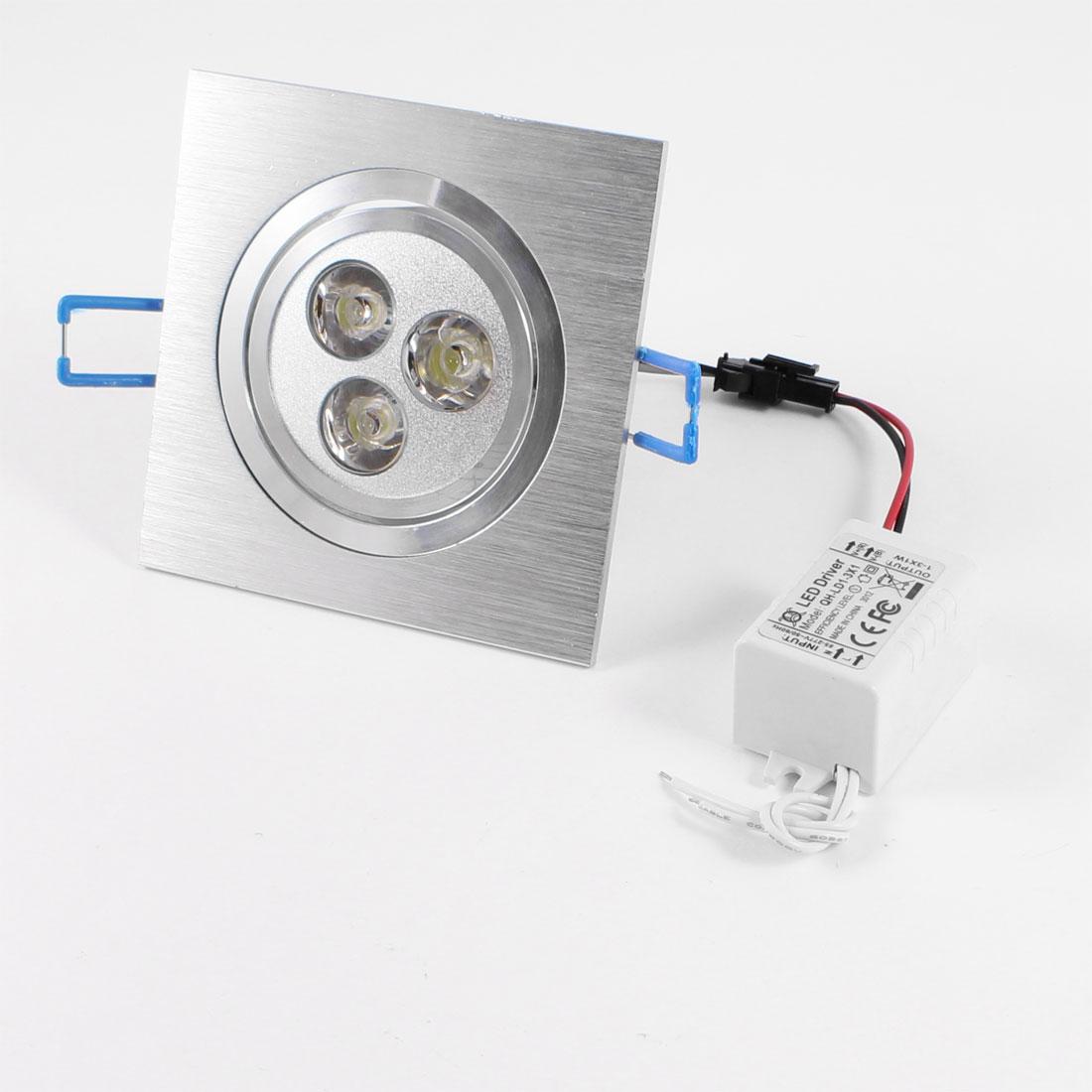 Sliver Tone Aluminium Housing 3 LED White Light Down Spotlight 3W 220V