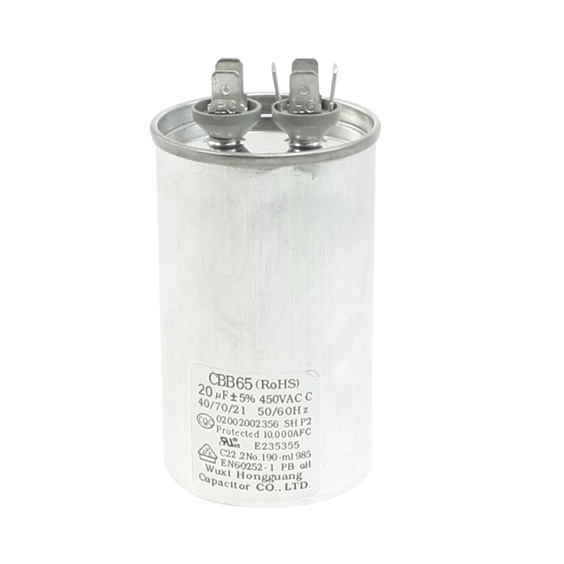 AC 450V 20uF 50/60Hz Metallized Polypropylene Film Motor Capacitor CBB65