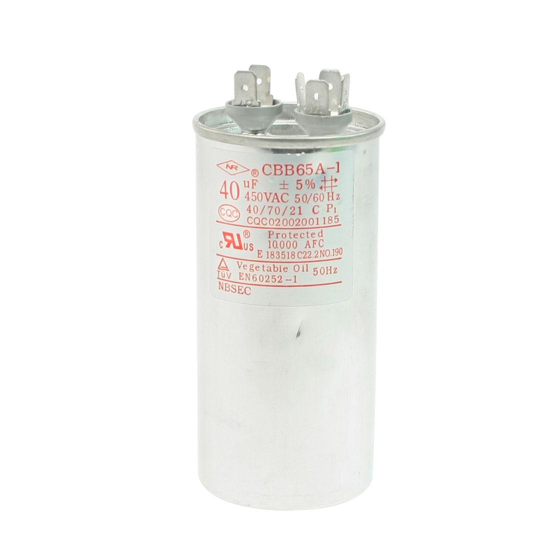 450VAC 40uF CBB65A-1 Polypropylene Film Motor Capacitor for Air Conditioner
