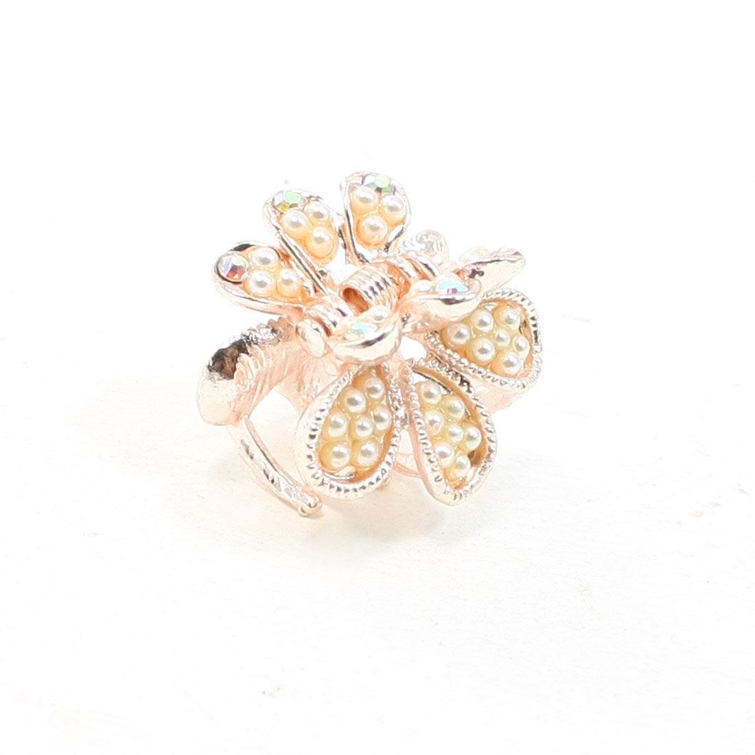Women Ladies Beige Rhinestone Decoration Grape Shaped Hair Clamp Claw