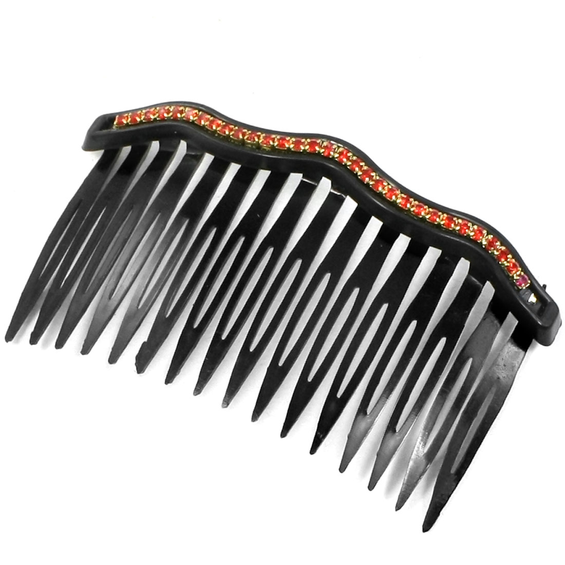Red Bling Rhinestones Accent Comb Hair Clip Clamp Black for Women