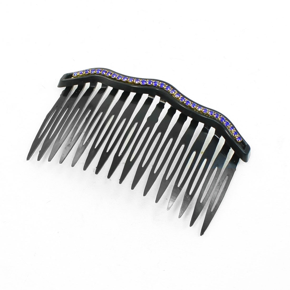Blue Rhinestone Decor Plastic Black Comb Hair Clip for Ladies Girls