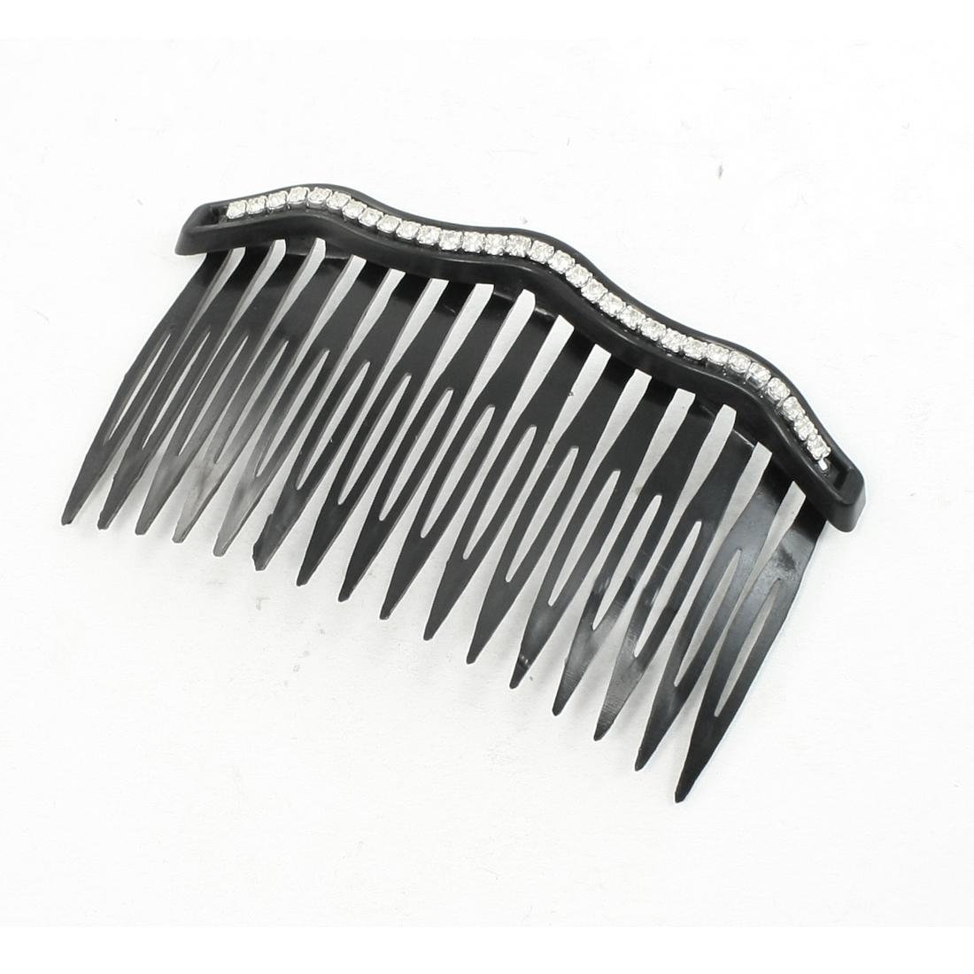 Women White Rhinestone Inalid Plastic Hair Comb Clip Clamp Black