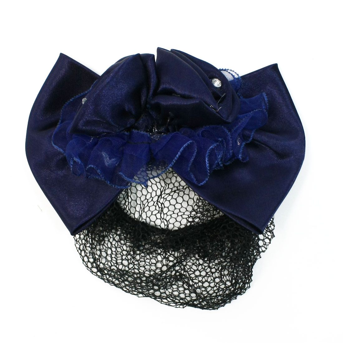 Airline Stewardess Nurse Flower Rhinestone Hair Snood French Barrette Dark Blue