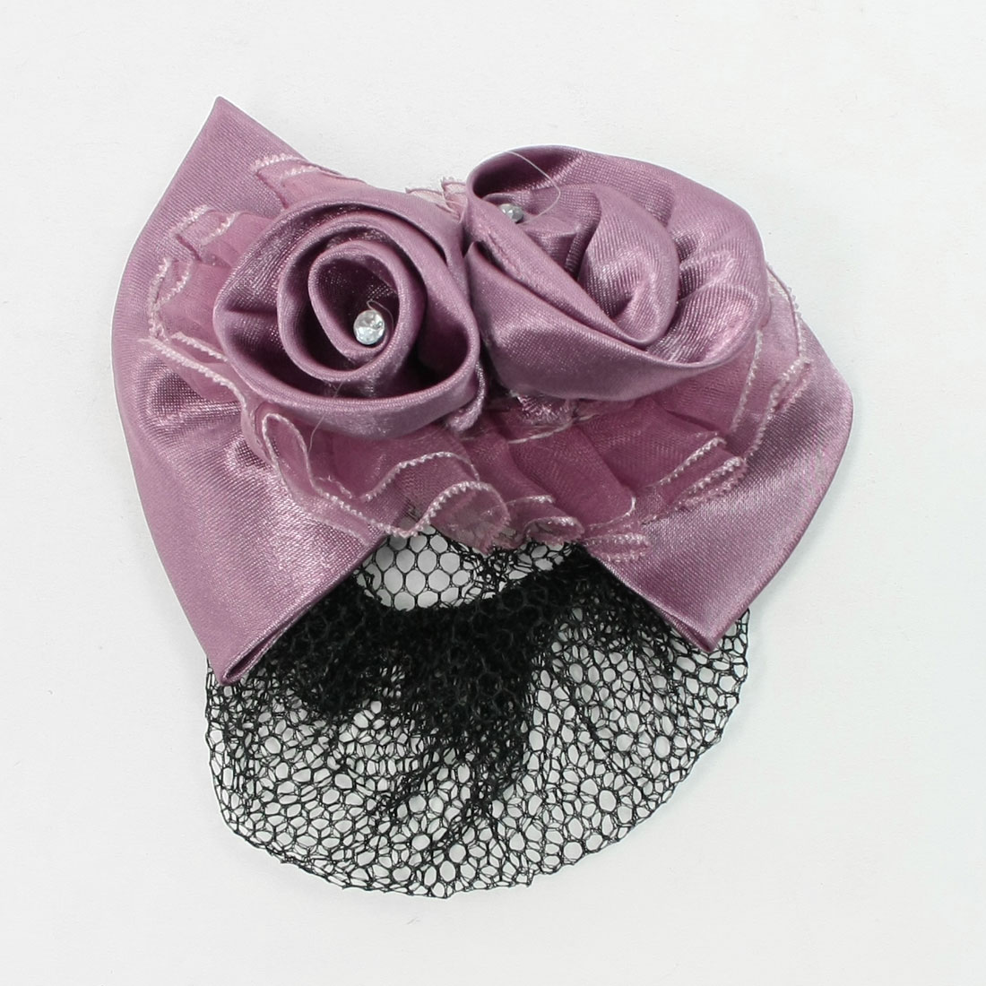 Ladies Purple Bowknot Decor Metal French Hairclip Net Hair Snood Barrette