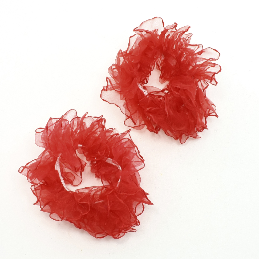 Women Girls Red Rim Hair Ponytail Holders Band Tie Decor 2 Pcs